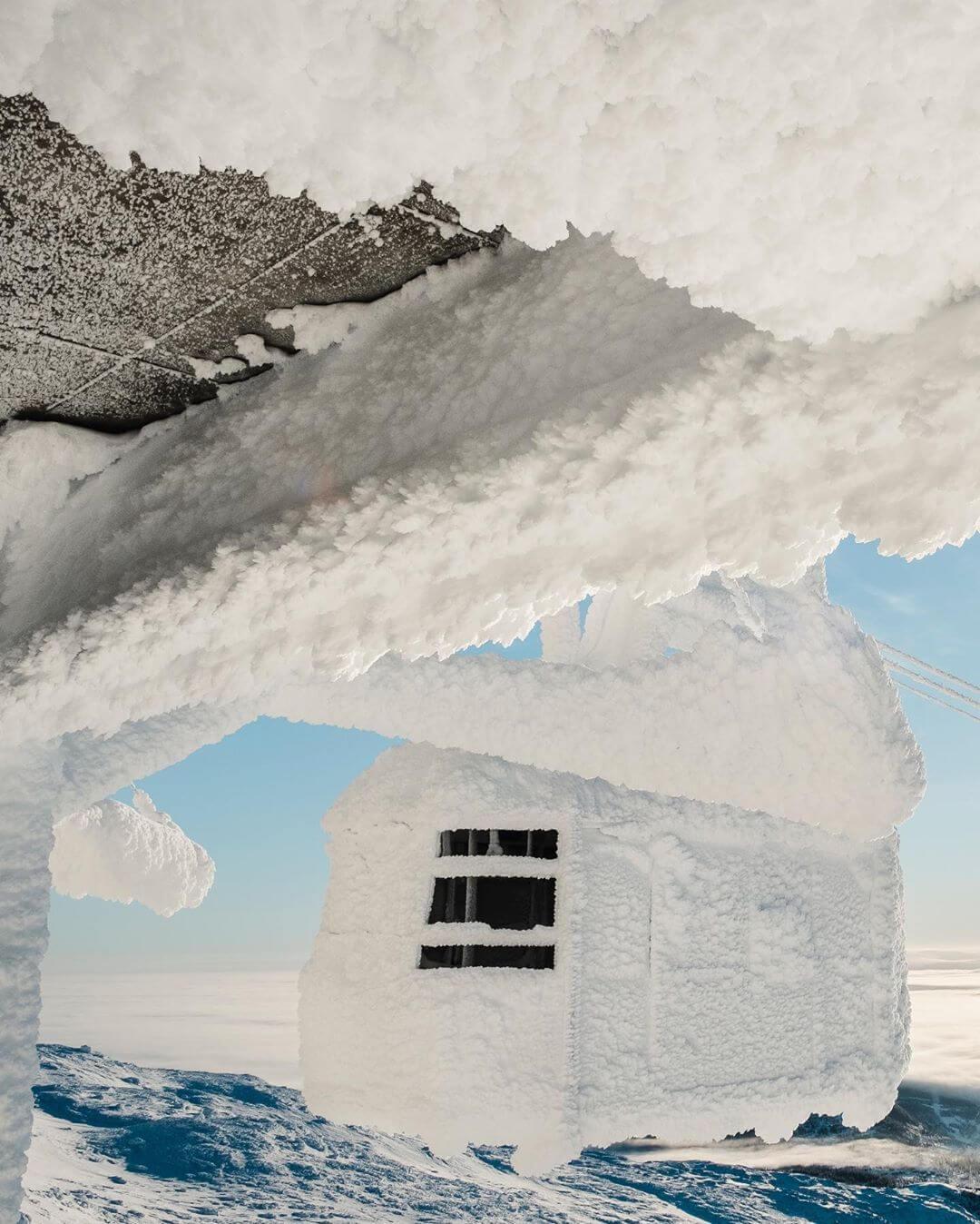 Иней превратил горнолыжный курорт Швеции Оре в большой сугроб