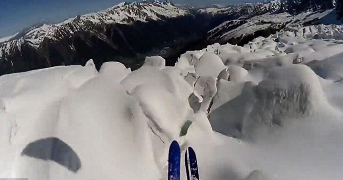 Снежная лавина Французские Альпы 2015