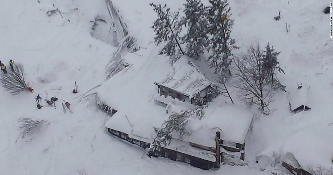 Снежная лавина Италия 2017
