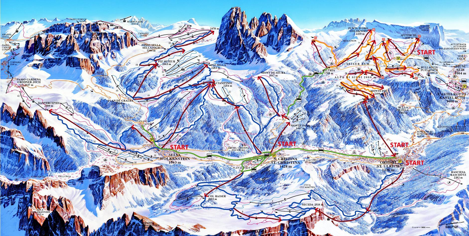 Карта трасс Альп ди Суизи