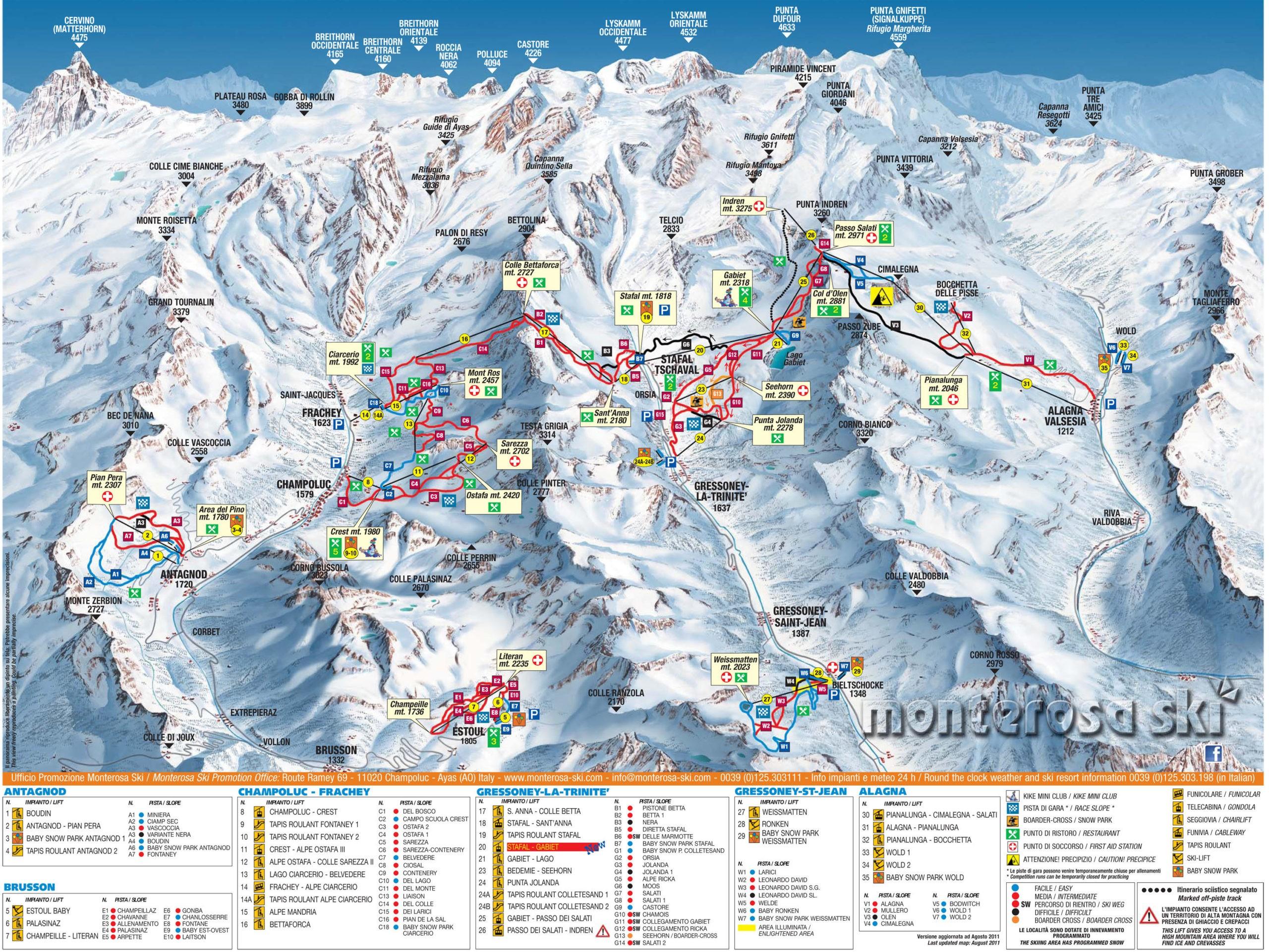 Карта трасс Монте Роза